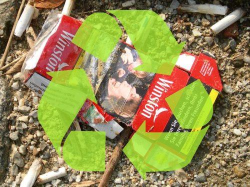 Zigarettenschachtel und Kippen Recycling